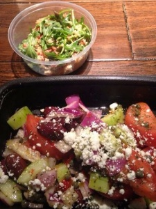 Greek salad with a side of quinoa salad