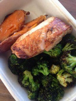 Salmon with broccoli and sweet potatoes