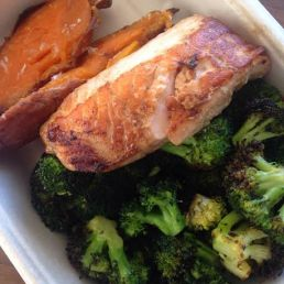 Salmon with broccoli and sweet potatoes