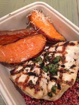 Chicken with quinoa and sweet potatoes